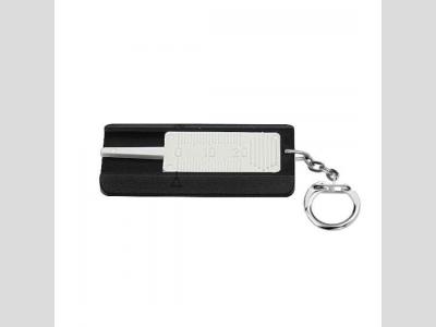 Gumuprofilmérő kulcstartóval, fekete