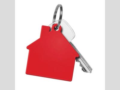 Műanyag ház form akulcstartó, piros