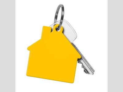 Műanyag ház form akulcstartó, sárga